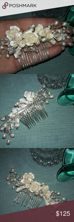 "Handmade Enamel and Pearl Haircomb EUC. I bought this on Etsy for my wedding, but my hair is very thin and it was a little too heavy. Anyone with ""normal"" hair should be fine. Handmade with enamel roses, faux pearls and beautiful ornamentation. It really is a gorgeous piece and one of a kind. It is about 5-6 inches long and about 2 inches wide at its widest part. etsy Jewelry Brooches"