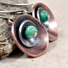 Disc Earrings Mixed Metal Copper and Sterling Fossil by adorned7
