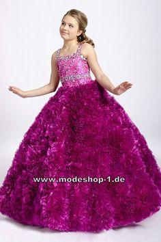 Dunkel Lilanes Kleid Ballkleid Abendkleid für Mädchen Weites Blumenmädchenkleid Sommerkleid in Lila Flieder Violett Organza  www.modeshop-1.de