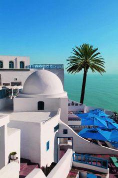 """Le """"Café des délices"""", l'un de mes coins préférées en Tunisie. Sidi Bou Said…"""
