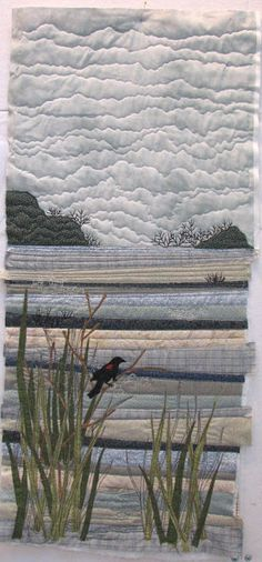 AND SEW IT GOES: Water Patchwork Quilting, Applique Quilts, Art Quilting, Quilt Art, Crazy Patchwork, Crazy Quilting, Landscape Art Quilts, Beach Quilt, Fabric Pictures