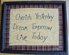 Primitive Stitchery Sign Picture  Cherish by TurnItAround on Etsy, $15.00