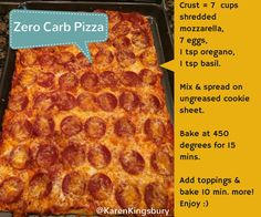 Zero Carb Pizza!! https://www.facebook.com/AuthorKarenKingsbury/photos/a.10154118779120386.1073741841.66052390385/10154564408280386/?type=1