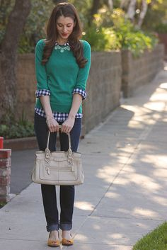 Layered Gingham - navy gingham shirt with teal sweater, J.Crew Factory statement necklace and mustard flats.