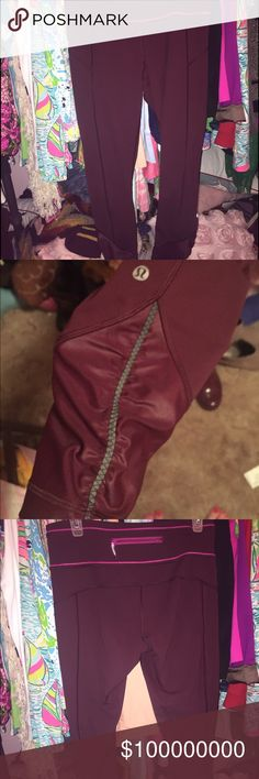 LULULEMON MAROON PANTS IN PERFECT CONDITION. LULULEMON PACE QUEEN IN MAROON. SIZE 8. Not looking to trade. Not sure if I want to sell. lululemon athletica Pants