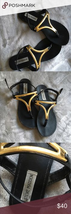 Size 7 Steve Madden Sandals W E L C O M E B A C K T O M Y P A G E 🎉🍹❤️ I am currently selling these • black & gold • size 7 • Steve Madden• sandals! These are definitely pre-loved but they can always use a new home 👣 comment down below if you would love to bundle // no trades // no PayPal // no mercari // just use the offer button 💋 H A P P Y P O S H I N G Steve Madden Shoes Sandals