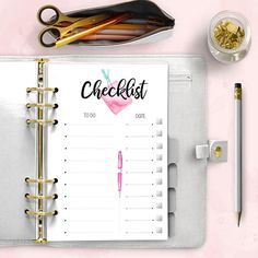 CHECKLIST Printable Planner Inserts • Watercolor • A5 Pdf Instant Download • Refill