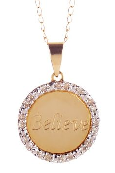 Perfect Pair:Silver & Gold Blowout  10K Yellow & White Gold Diamond Accent Believe Necklace  $72.00