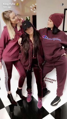 Sisters || Burgundy || outfits || head to toe || matching || Kim is jealous lol Khloe, Kourtney Kardashian and Kylie Jenner