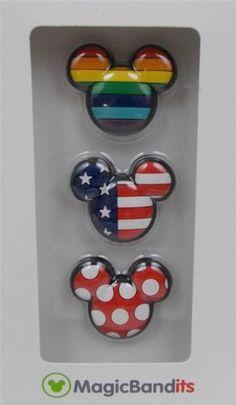 Disney-Parks-Magic-Band-Bandits-Mickey-Icon-Rainbow-Wrist-Charms-Set-of-3-New