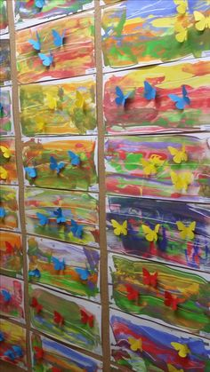 Spring Art Projects, Spring Crafts For Kids, Art For Kids, Classroom Art Projects, Art Classroom, Kindergarten Art Lessons, Insect Crafts, Butterfly Crafts, Art N Craft