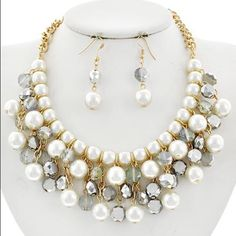 "Cream Pearl & Glass Crystal Necklace Set GoldTone / Silver & Blue Glass Crystal & Cream  Pearl  / Fish Hook (earrings) / Charm / Necklace & Earring Set •   ChiqStyle No : 000521112 •   LENGTH : 16"" + EXT •   EARRING : 1 7/8"" •   DROP : 1 1/2""  •   TWO TONE/SILVER Jewelry Necklaces"