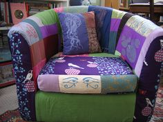 """""""I recovered the abondoned Ikea armchair... I used a combination of new fabric, thrifted fabrics (corduroy, cotton, upholstery, an old pair of pants and a men's shirt etc.) and block printed fabrics."""""""