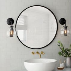 Modern Scandinavian Bathroom Interior In White - Interior Design Ideas & Home Decorating Inspiration - moercar Circular Mirror, Round Wall Mirror, Round Mirrors, Round Bathroom Mirror, Leaning Mirror, Wall Mirrors, Sunburst Mirror, Framed Wall, Wall Sconces