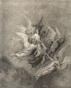 Illustration to Dante's Divine Comedy, Purgatorio by Gustave Doré. Plate 30: The Ascent of Beatrice