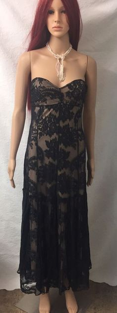 Newport News Black Lace Full Length Strapless Maxi Dress Size 8  | eBay