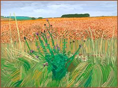DAVID HOCKNEY: LA LOUVER - The East Yorkshire Landscape: Wheat Field Beyond the Tunnel, 16 August 2006  Oil on canvas  36in x 48in
