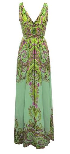 STAIN GLASS PAISLEY DRAPED MAXI at Yoana Baraschi in MINTY LIME/PINK