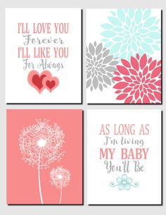 Coral Aqua Gray Girls Nursery Kids Wall Art, I'll Love You Forever, Baby Girl, Baby Room, Nursery Decor Dandelions Set of 4, Art Prints by vtdesigns on Etsy