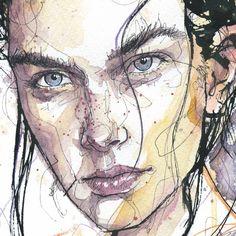 Dominic beyeler - sketch of the day. morn в 2019 г. Watercolor Portrait Painting, Watercolor Art Face, Portrait Art, Simple Watercolor, Face Art, Art Inspo, Amazing Art, Art Drawings, Illustration Art