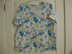 Woman's Knit Top Faded Glory Perfect Fit XL Short Sleeve Floral Blue Green White #FadedGlory #KnitTop #Casual