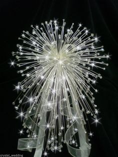 Swarovski Elements crystal cascade wedding bouquet ex large size