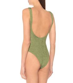 The Domino swimsuit has been crafted with Hunza G's hallmark puckered seersucker finish in stretch LYCRA®. The olive green style works a high-leg, scooped-neck, low-back silhouette, and its thick straps are finished at the front . Hunza G, Racerback Swimsuit, Green Swimsuit, Norma Kamali, Stella Mccartney Adidas, Petite Outfits, Green Fashion, Work Casual, Seersucker
