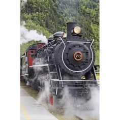 Steam locomotive #73 at downtown depot of White Pass & Yukon Route RR in Skagway Alaska narrow gauge blt by Baldwin Locomotive in 1947 Canvas Art - Harry M Walker Design Pics (12 x 19)