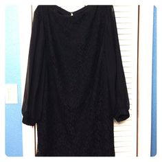 Black midi dress Black Lace with sheer sleeves. Only worn once Dresses Midi