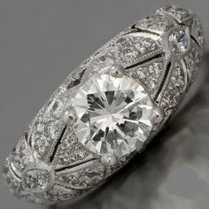 1.40ct Round Diamond Engagement Ring Art Deco by blueriver47, $5772.00