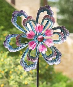 Look what I found on #zulily! Oversized Blue Flower Metal Wind Spinner #zulilyfinds