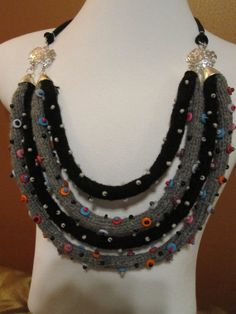 knit i cord beaded  statement necklace by JaderCouture on Etsy, $20.00