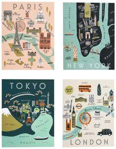 Rifle Paper Asst. City Map Set