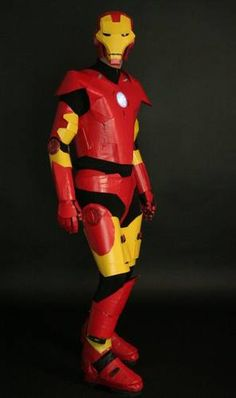 Duct tape heroes: Iron Man - OCCASIONS AND HOLIDAYS - This costume was made with yellow/red duct tape over yellow/red cardboard and an old pair of ski boots. Duct Tape Jewelry, Duct Tape Bracelets, Tape Art, Duck Tape Crafts, Super Hero Costumes, Cool Costumes, American Girl, Iron Man, Beautiful Dresses