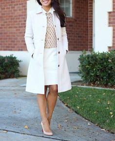 Style Inspiration: StylishPetite.com | Winter Neutrals: J.Crew Lady Day Coat in Antique Linen and Banana Republic Honeycomb Cardigan