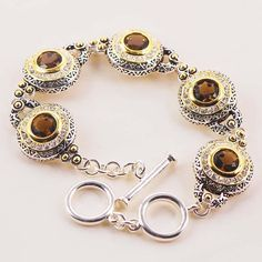 Brown Crystal Zircon Silver Plated Fashion Bracelet