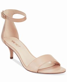 Nine West Leisa Shoes Natural Leather Two Piece Kitten Heel Sandals 8.5 M NEW #NineWest #AnkleStrap