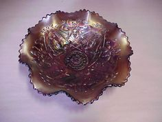 Northwood Carnival Glass Bowl wishbone, ruffles & rings For Sale | Antiques.com | Classifieds