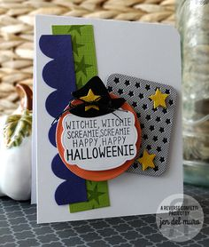 Card by Jen del Muro. Reverse Confetti stamp set: Cast a Spell. Confetti Cuts: Cast a Spell, Oh My Stars, Double Edge Scallop Border, Give Thanks Label, Class Act, Pretty Panels Stars. Halloween card.