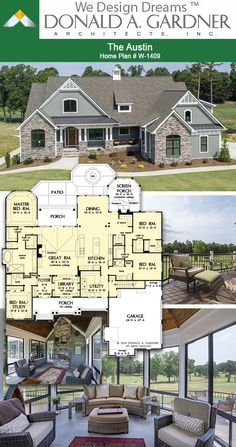 Outdoor living spaces of The Austin house plan 1409 2966 sq ft 4 Beds 4 Baths Family House Plans, New House Plans, Dream House Plans, House Floor Plans, The Plan, How To Plan, Dream Home Design, House Design, Austin House