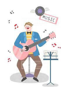 SPAI146, 프리진, 일러스트, 에프지아이, 직업, 직업군, 사람, 캐릭터, 일러스트, 비즈니스, 웃음, 미소, 행복, 손짓, 심플, 재밋는, 꿈, 장래희망, 장래, 희망, 교육, 음악, 기타, 가수, 싱어송라이터, 음표, LP판, 악보, 반주, 노래, 남자, 앉아있는, 의자, 감상, 음악감상, 나비넥타이, 기타리스트, 아티스트, illust, illustration #유토이미지 #프리진 #utoimage #freegine 20027653 Art School, Infographic, Illustration Art, Cool Stuff, Drawings, Music, Painting, Fictional Characters, Design