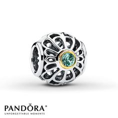 Pandora Charm Synthetic Spinel Sterling Silver/14K Gold