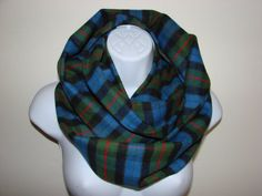 Green Blue Red Plaid Infinity Scarf Soft Flannel by OtiliaBoutique Plaid Infinity Scarf, Loop Scarf, Red Plaid, Autumn Winter Fashion, Flannel, Blue Green, Unisex, Trending Outfits, Women