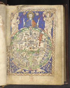 An illumination from the English 'Map Psalter', c.1265, depicting a blessing Christ above a map of the world, with Jerusalem at its centre; (Additional 28681 f.9). (British Library)
