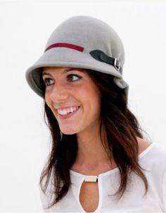 Doune - Grey Felt Cloche Hat, narrow brim hat, blue vintage style hat, winter wool felt hat, formal winter hat, christmas gift for her