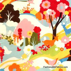 Fabric... Oh Deer Enchanted Forest in Creamsicle by Momo for Moda Fabrics