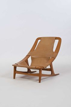 Arne Tidemand Ruud; Teak and Leather 'Holmenkollen' Chair for Norcraft, 1960s.