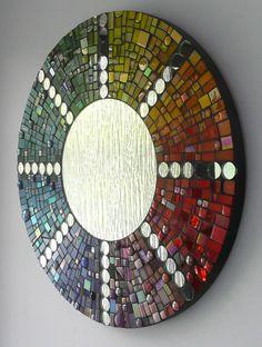 Mosaic Tile Art, Mirror Mosaic, Mosaic Diy, Mosaic Crafts, Mosaic Projects, Diy Mirror, Tile Crafts, Mosaic Glass, Fused Glass