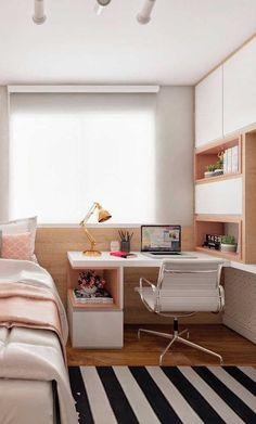 Aposte na escrivaninha para quarto feminino para ter um espaço com a sua cara. Study Room Decor, Cute Room Decor, Room Ideas Bedroom, Girl Bedroom Designs, Small Room Bedroom, Home Decor Bedroom, Small Rooms, Small Teenage Bedroom, Tiny Bedroom Design