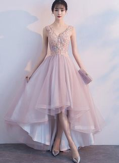 Pink Prom Dresses Lace 2019 V-Neck High Low Graduation Dress Asymmetric . - Pink Prom Dresses Lace 2019 V-Neck High Low Graduation Dress Asymmetrical Party Dress - Prom Dresses For Teens, Cute Prom Dresses, V Neck Prom Dresses, Tulle Prom Dress, Homecoming Dresses, Lace Dress, Bridesmaid Dresses, Tulle Lace, Pink Tulle